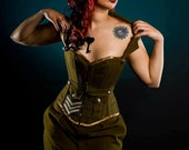 Steampunk corset & skirt- Military corset and skirt- army- costume- cosplay. MADE TO ORDER