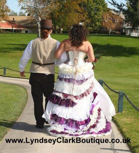 Steampunk Wedding Gowns: Steampunk Wedding Dress Ivory Purple With Train / Bustle