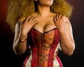 Steampunk corset. Boho- hippy- Bohemian- alternative- hippie corset- MADE TO ORDER