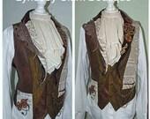 Steampunk mens waistcoat- gothic mens waistcoat- steampunk groom- made to order