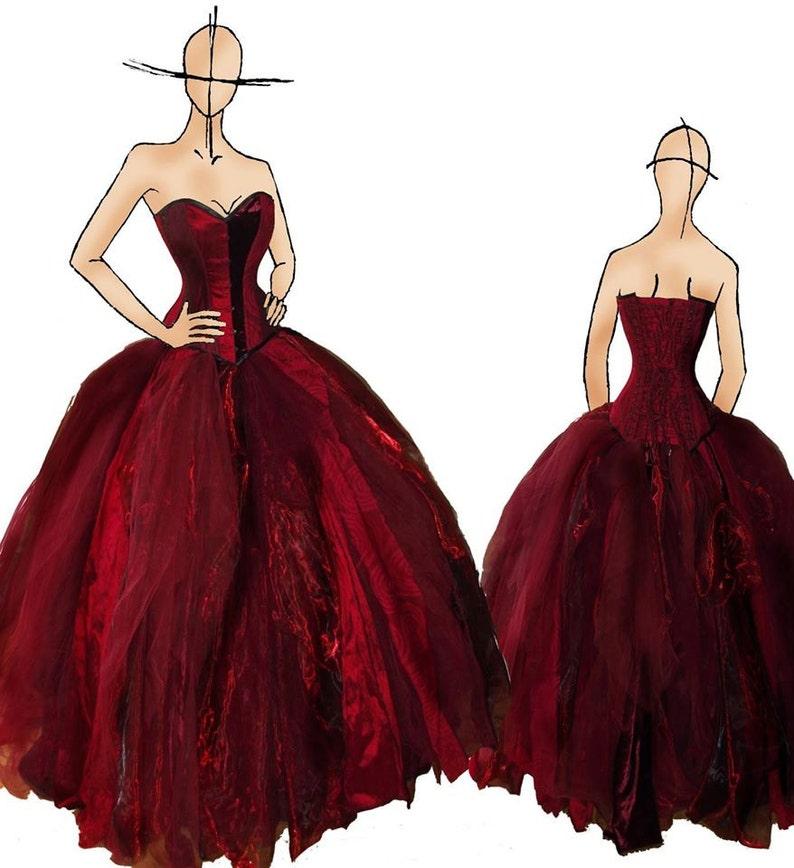 Steampunk wedding dress red wedding dress Alternative image 0