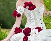 Alternative wedding dress- alternative prom dress with white and red roses. Made to measure