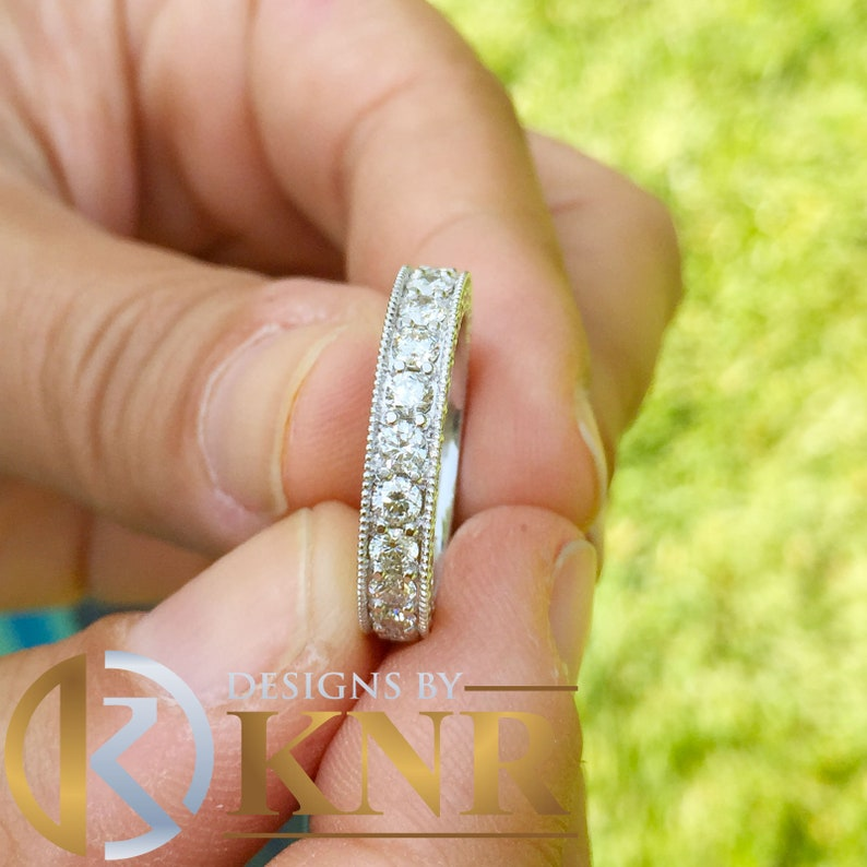 e526cf7e38aaf Large 14k solid white gold Round cut Three Sided eternity Moissanite band  anniversary Wedding, Anniversary, Bridal 2.75ctw 3.8mm width