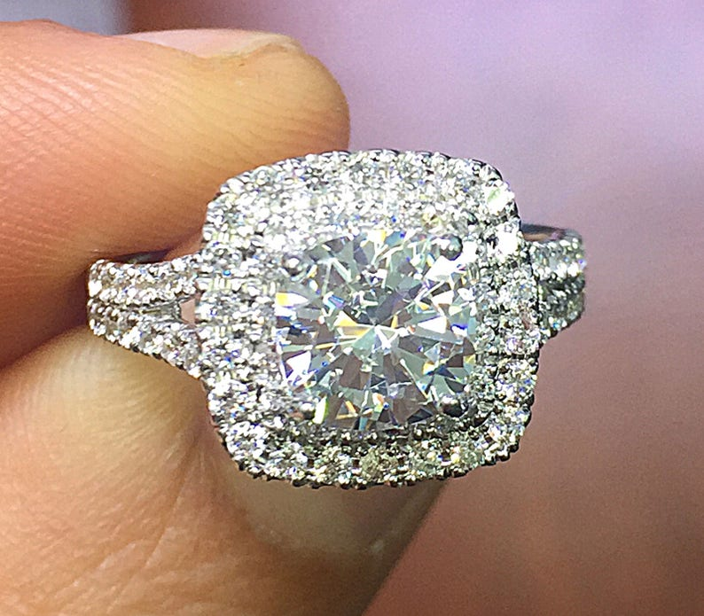 14k White Gold Cushion Cut Diamond Engagement Ring Double Halo Split Shank Deco Wedding Natural Diamonds Round Cut Sapphire 1 90ctw