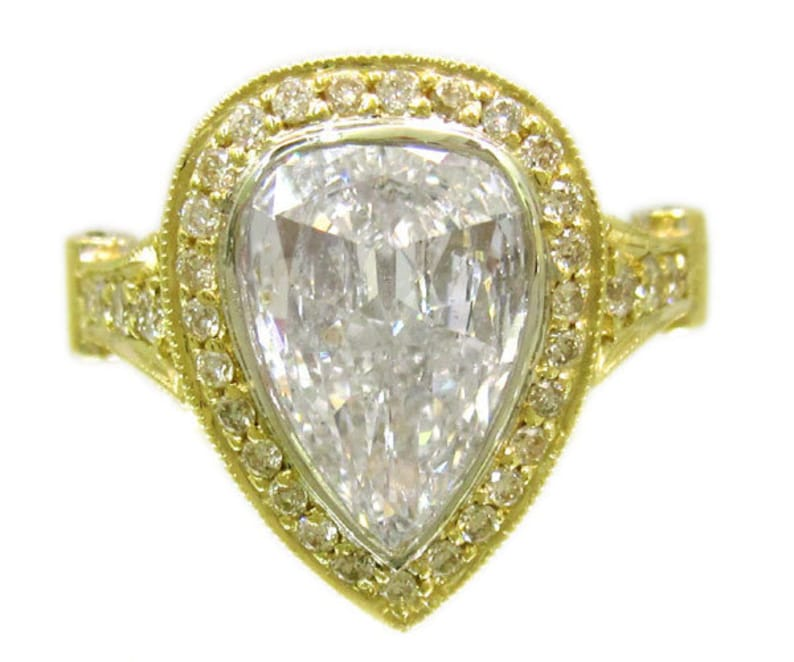 564966de89607 18k yellow gold pear shape and round cut forever one moissanite and diamond  engagement ring beze set art deco 3.96ctw