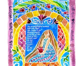 Woman of Valor - Eshet Chayil - Jewish Judaica Art Print - Woman Special Gift