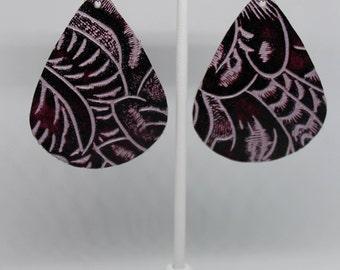 Periwinkle & Plum Floral Embossed Leather Teardrop Earrings