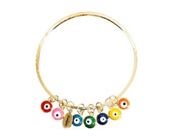 Rainbow of Evil Eyes Bangle Bracelet