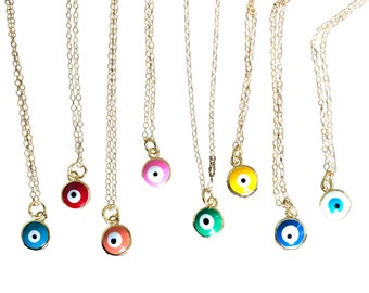 Evil Eye Charm Necklace in Rainbow Colors