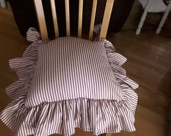 Chair Seat Cover 5 inch Tucked Ruffled Edge  in Red Stripe Ticking Cotton