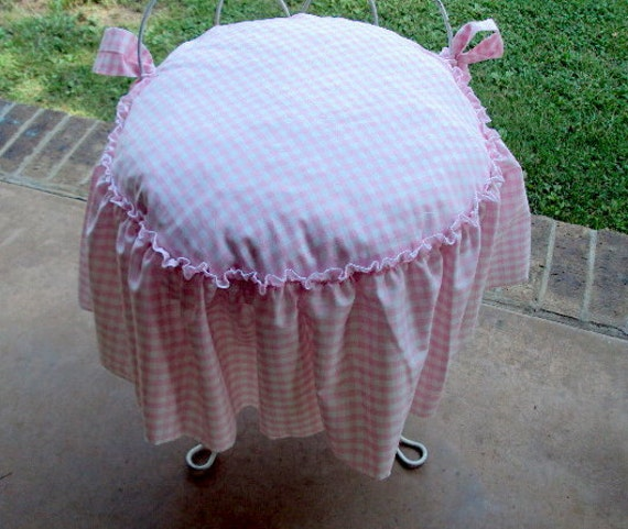 Fine Vanity Stool Cover Includes Cushion Ruffled Edge With Bow Ties 16 Inches Round Theyellowbook Wood Chair Design Ideas Theyellowbookinfo