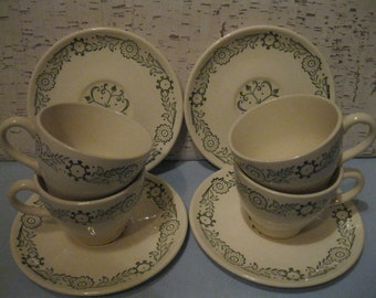 Cups and Saucers / Set of Four / Mid-Century / Vintage