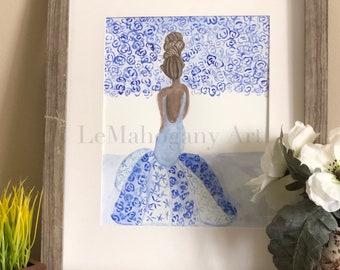 Beauty Blu- Fashion Wall Art, African American Art, Floral Wall Art by LeMahogany Art