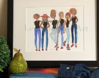Jeans Collection No.2- Fashion Wall Art, Black Girl Magic Art, Fashion Illustration, African American Wall Art by LeMahogany Art