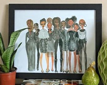 All Black Everything - Fashion Illustration, Black Girl Magic Art, Fashion Art,  Black Women Art, Fashion Print by LeMahogany Art
