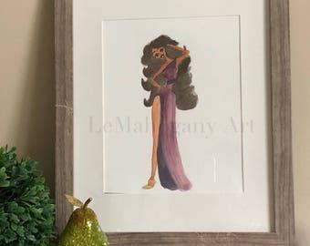 Disney's Hercules Muses Melpomene- Fashion Illustration Wall Art, African American Woman Art, Fashion print, Black artwork by LeMahogany Art
