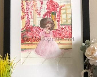 Princess Rose- Princess Art, African American Art, Afro girl wall art, Black Girl Magic Art by LeMahogany Art