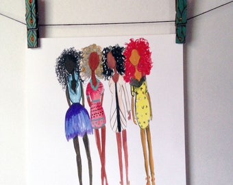 SALE Four Afro Girls- African American Art, Black Girl Magic Wall Art, Afro Print, Fashion Wall Art by LeMahogany Art