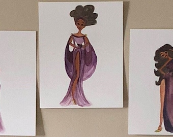 Disney's Hercules The Muses Collection - Black Girl Magic Art, Fashion Wall Art Prints, Black Art, Fashion Illustrations by LeMahogany Art
