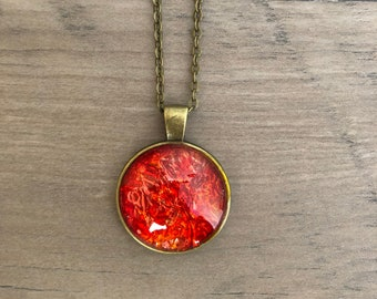 """Red Orange Alcohol Ink Pendant Necklace 20"""" Bronze Chain"""