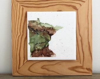 Minnesota Alcohol Ink Painting on Tile Mounted on Wood
