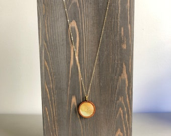 """Beige Gold Alcohol Ink Wood Circle Pendant Necklace 18"""" Gold Filled Chain"""