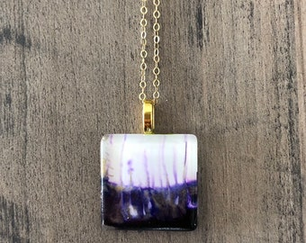 """Purple/White/Gold Square Alcohol Ink Pendant Neckace 18"""" Gold Filled Chain"""