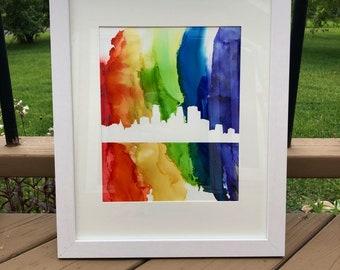 Downtown Minneapolis Rainbow Skyline Alcohol Ink Original Framed Art