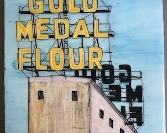 Gold Medal Flour Sign Minneapolis Original Painting