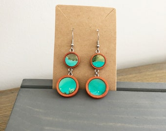 Teal and Gold Alcohol Ink in Wood Earrings Double Circle