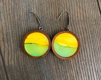 Lemon and Lime Alcohol Ink in Wood Earrings Yellow Green