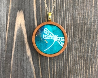 """Dragonfly Alcohol Ink Wood Circle Pendant Necklace 18"""" Gold Filled Chain"""
