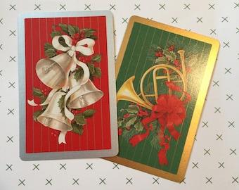 Vintage Christmas Playing Cards Set of 2 Bridge Poker