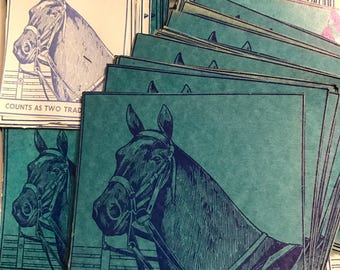 Vintage Blue Horse School Supply Coupon Label Notebook Paper