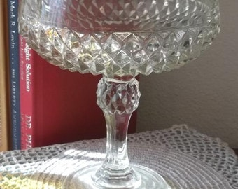 Diamond cut Indiana Glass clear compote