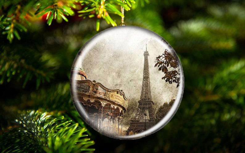 Paris Christmas Ornament.Paris Christmas Ornament Carousel Eiffel Tower Hostess Gift Large Magnet Work Space Decor Flat Metal Unbreakable Ornament Paris