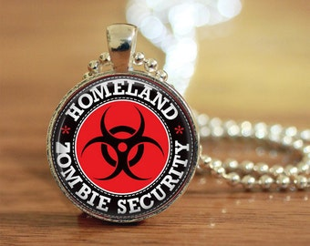 Zombie Security Pendant, Zombie Jewelry, Gift for Her, Gift for Him, Zombie Apocalypse Jewelry, Homeland Zombie Security