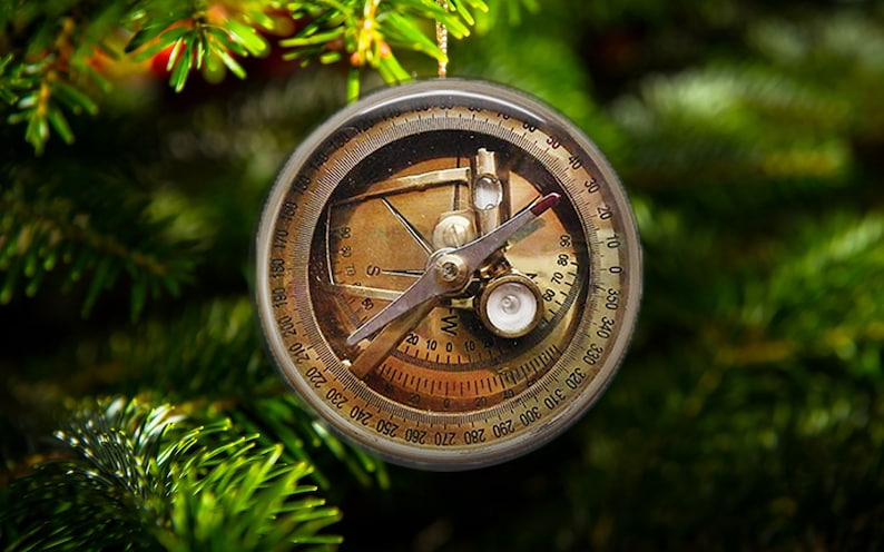 Steampunk Vintage Compass Ornaments SET of 3