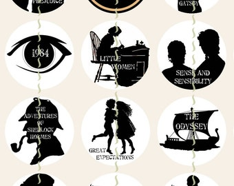 """Movie Silhouettes Magnets, Classic Movie Magnets, Classic Movie Pins, Movie Cabochons, Movie Party Favors, Literary Magnets, 1"""", 12 ct"""