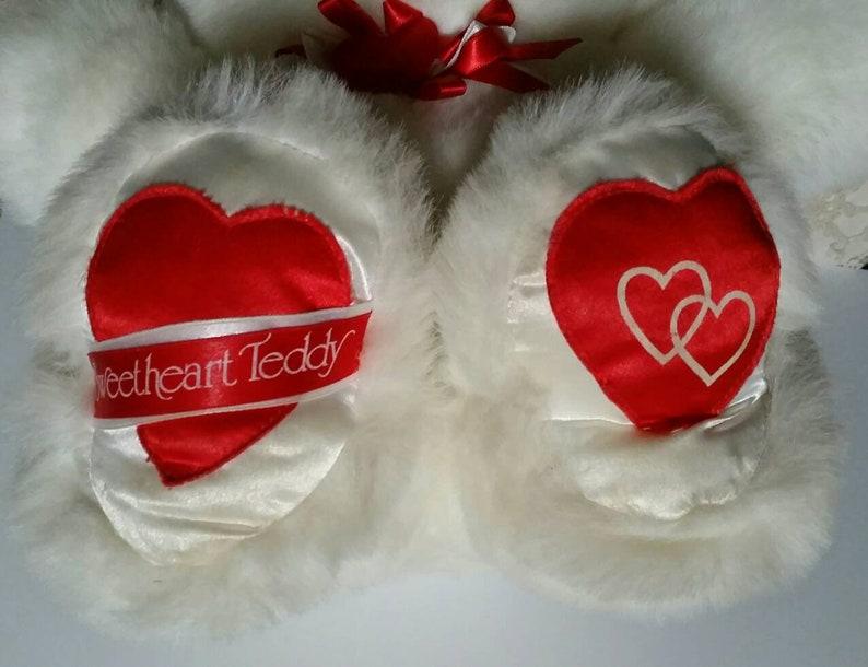 gift for love Vintage Valentine plush bear white teddy