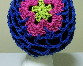 Blue OpenWork Crochet Flower Slouchy