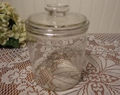 Antique Glass Tobacco Jar - Clear Glass Humidor, District N.C. - Factory No. 64 - 20-060