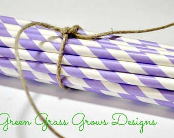 Purple and White Paper Party Straws