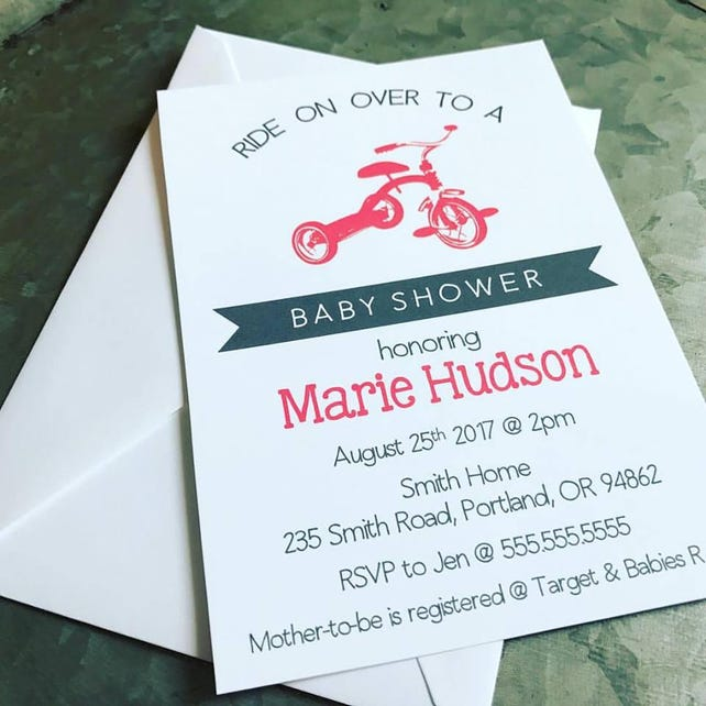 Tricycle Baby Shower Invitation Trike Invite Baby Shower