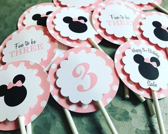 Minnie Mouse Cupcake Toppers Minnie Mouse party Minnie Mouse birthday minnie party