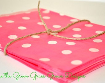 Bright Pink and White Paper Party Bags