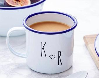 Enamel Personalised Couples Initial Mug