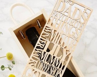 Personalised Favourite Things Wooden Bottle Box