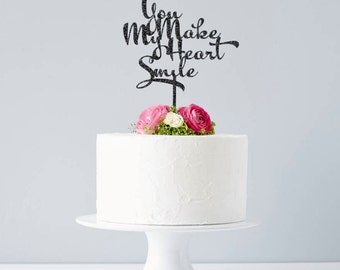 Calligraphy Song Lyrics Wedding Cake Topper