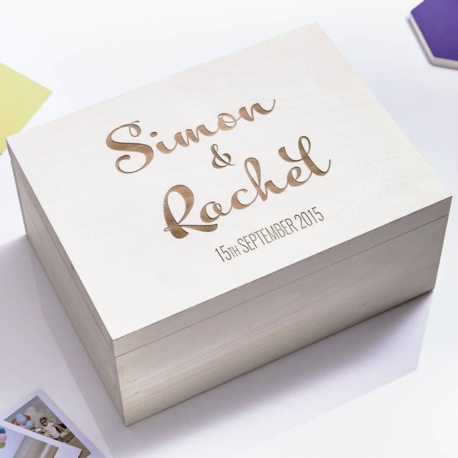 Large Personalised Calligraphy Couples Keepsake Box